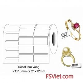 Decal tem vàng PVC 21 x 10 mm