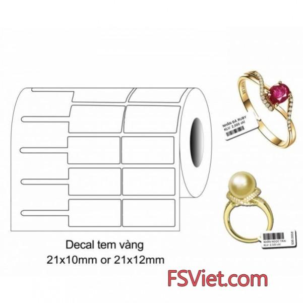 Decal tem vàng PVC 21 x 10 mm chất lượng cao nguyên liệu nhập khẩu