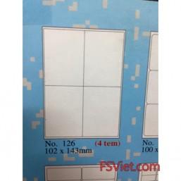 Giấy in mã vạch tomy a4 126 4 tem 102x143mm