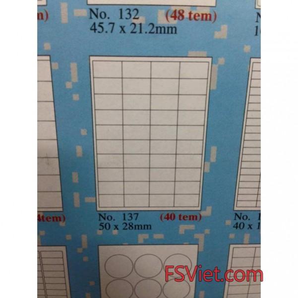 Giấy in tem nhãn A4 Tomy 137 40 tem 50×28 mm giá rẻ