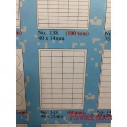 Giấy in mã vạch A4 Tomy 143, 44 tem 48x25mm