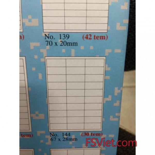 Decal mã vạch tomy a4 144 30 tem 67x28mm chất lượng cao