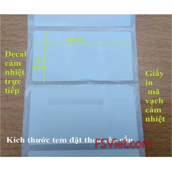 Decal cảm nhiệt 50x30 mm Fasson chất lượng cao nhận bế cuộn theo yêu cầu