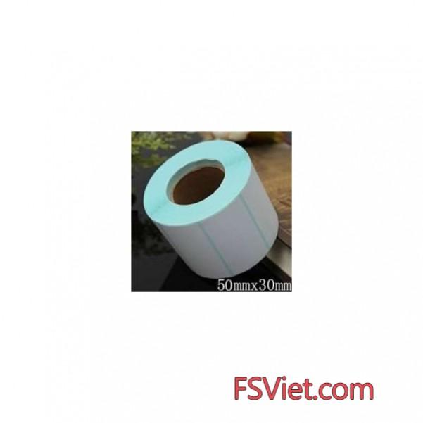 Giấy decal cảm nhiệt 1 tem 50x30mm, khổ 54mm, dài 30m