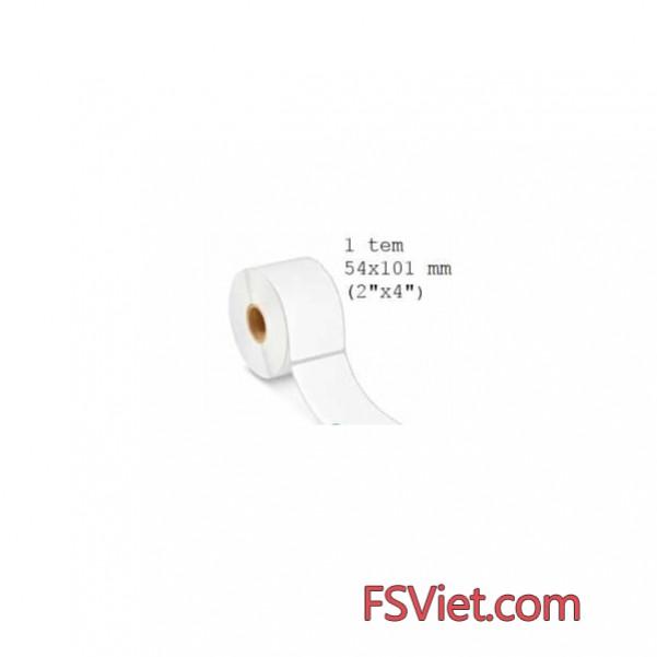 Giấy decal cảm nhiệt 1 tem 54x101mm, khổ 57mm, dài 30m