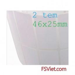 Giấy decal in mã vạch 2 tem 46x25mm