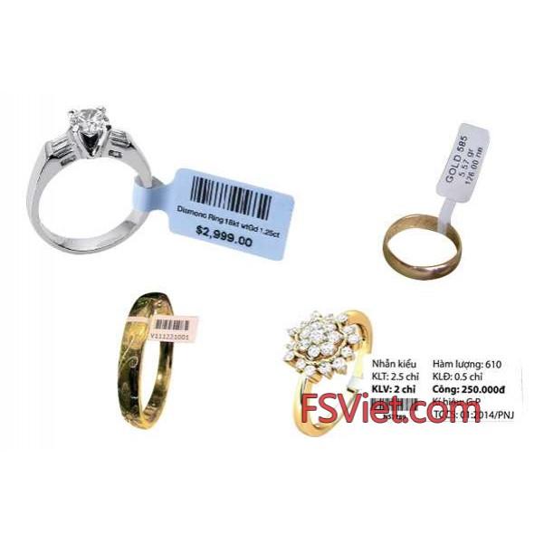 Tem vàng bạc trang sức - Decal tem in mã vạch ngành trang sức PVC chất lượng cao