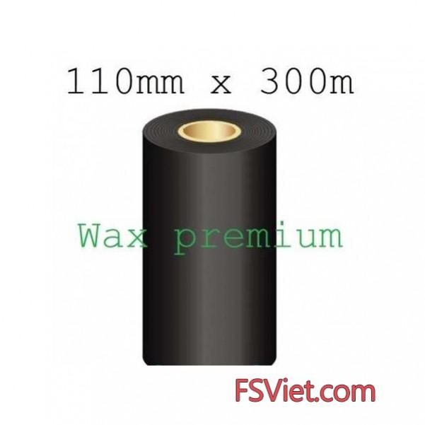 Mực in mã vạch wax premium 110mm x 300m chất lượng cao bám mực tốt