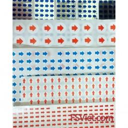 Nhãn in mũi tên màu xanh lá 6mm x 8mm