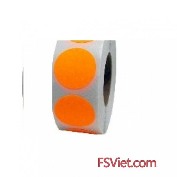 Decal tem tròn màu cam 3cm bề mặt bóng
