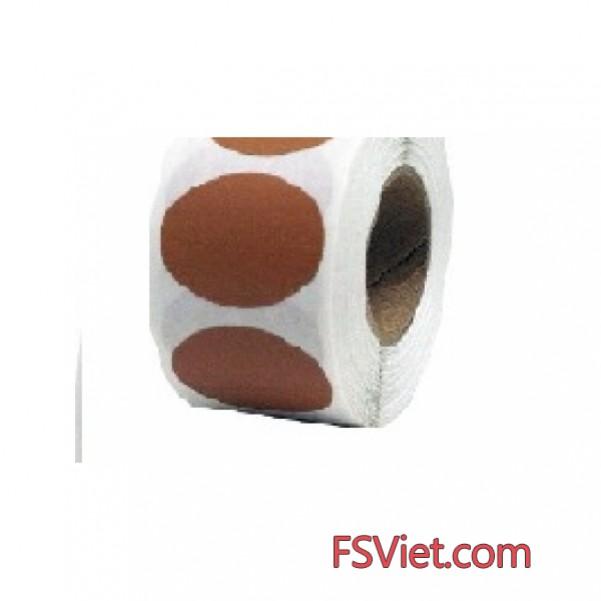 Decal tem tròn màu nâu 3cm dùng để đánh dấu sản phẩm