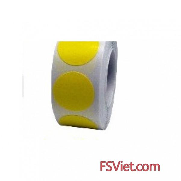 Decal tem tròn màu vàng 3cm độ bám dính cao