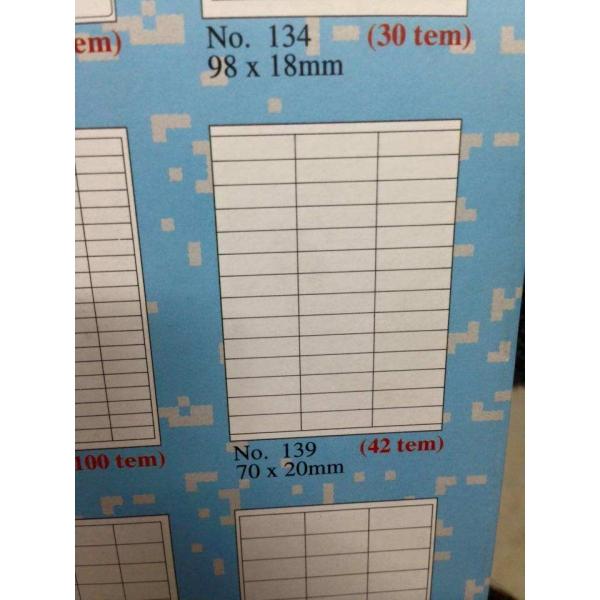 Mẫu decal mã vạch a4 tomy 139 gồm 42 tem trên 1 tờ