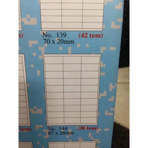 giấy decal tomy a4 mẫu 145 gồm 65 tem gồm 1 tờ