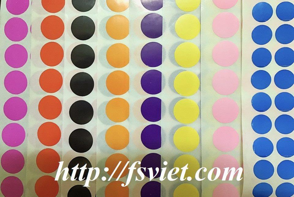 Decal tem tròn - Sticker hình tròn nhiều màu giá tốt đa dạng mẫu mã