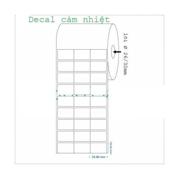 Giấy in mã vạch 3 tem 35x22mm, khổ giấy 110mm, dài 50m