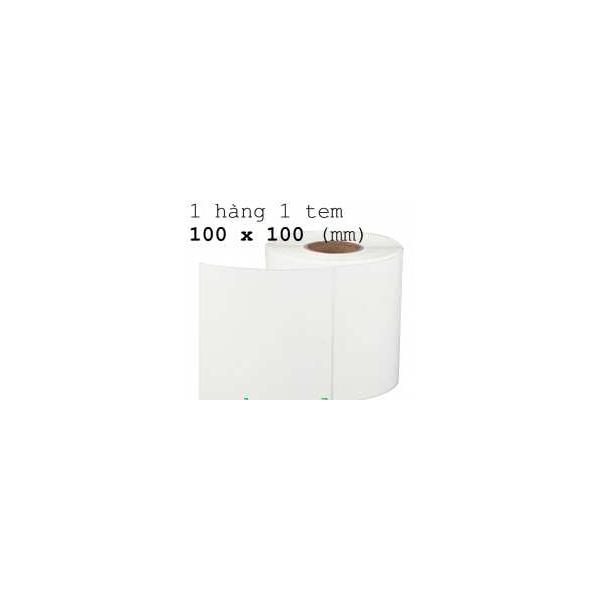 Giấy decal mã vạch 1 tem 100x100mm (tem vuông), khổ 104mm, dài 50m