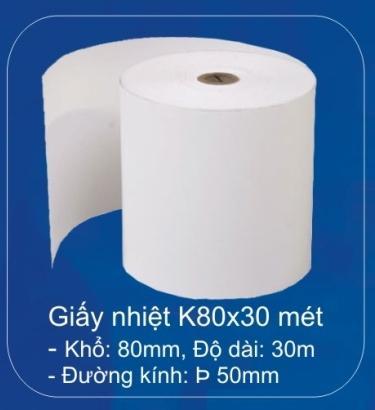 giấy in nhiệt k80 dài 30m đường kính 50mm