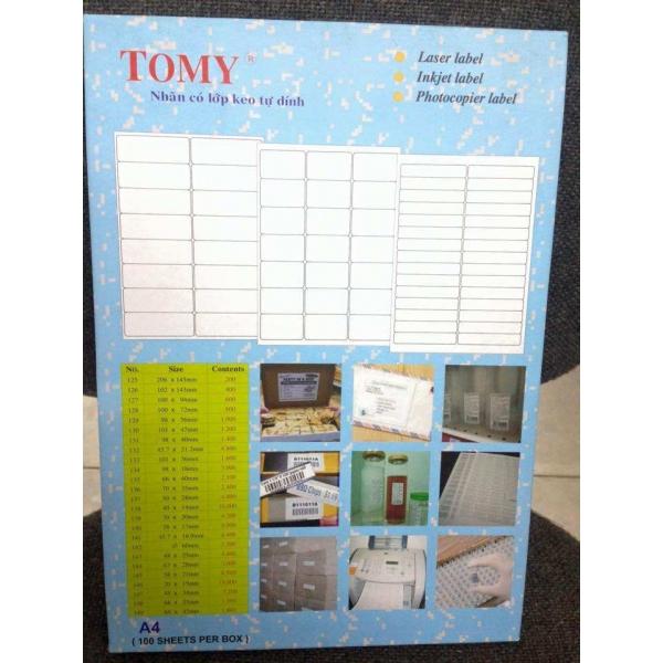 Các loại giấy in mã vạch A4 Tomy (giấy decal Tomy A4) chất lượng đa dạng để lựa chọn