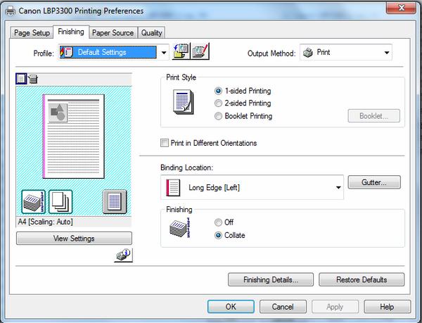 thiết lập cỡ giấy mặc định cho máy in